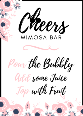 photograph relating to Mimosa Bar Sign Printable identified as Mimosa Bar Indication #1 EventSoJudith Mimosa Bar Signal #1